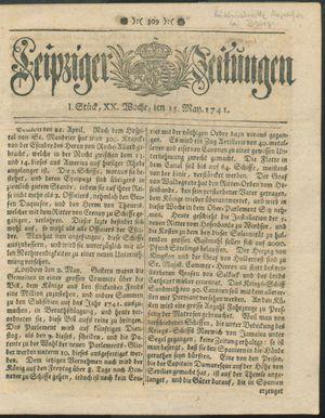 Leipziger Zeitungen vom 15.05.1741