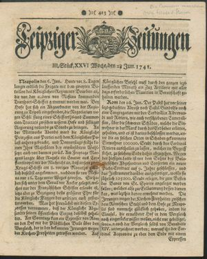 Leipziger Zeitungen vom 28.06.1741