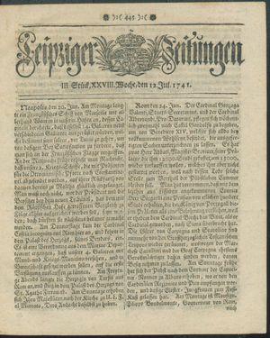 Leipziger Zeitungen vom 12.07.1741
