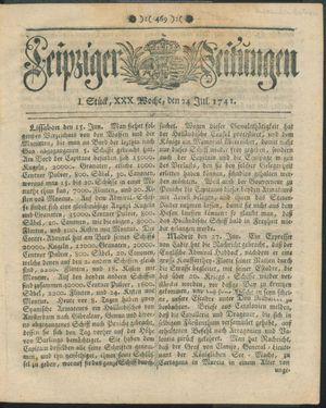 Leipziger Zeitungen vom 24.07.1741