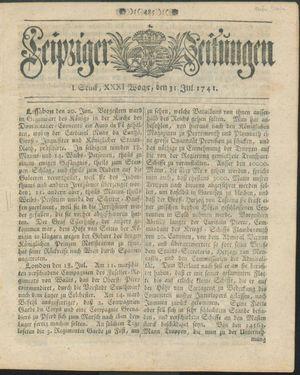 Leipziger Zeitungen vom 31.07.1741
