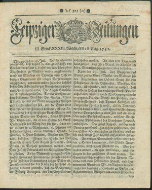 Leipziger Zeitungen vom 16.08.1741