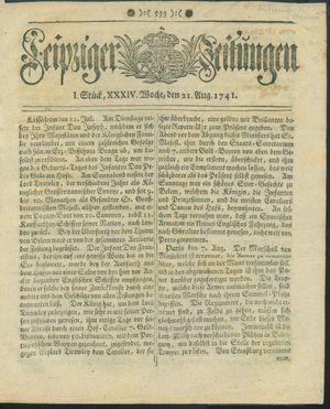 Leipziger Zeitungen vom 21.08.1741