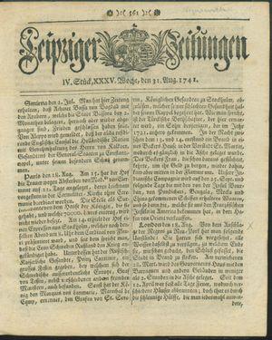 Leipziger Zeitungen vom 31.08.1741