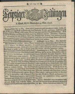 Leipziger Zeitungen vom 14.11.1741