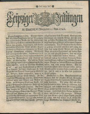 Leipziger Zeitungen vom 15.11.1741