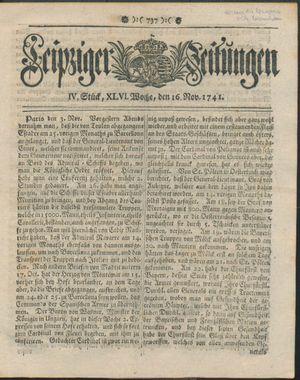 Leipziger Zeitungen vom 16.11.1741