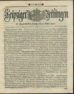 Leipziger Zeitungen vom 30.11.1741