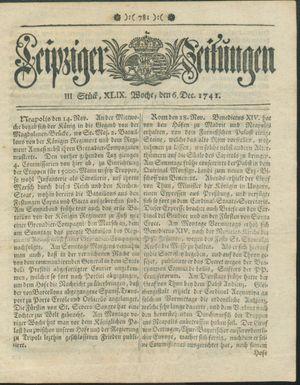 Leipziger Zeitungen vom 06.12.1741