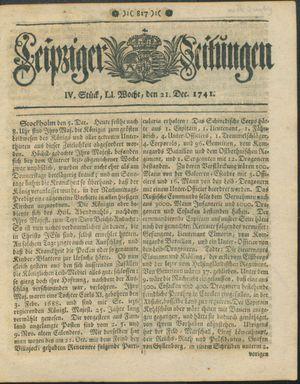 Leipziger Zeitungen vom 21.12.1741