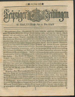 Leipziger Zeitungen vom 27.12.1741