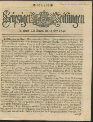 Leipziger Zeitungen vom 28.12.1741