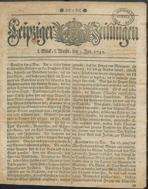 Leipziger Zeitungen vom 01.01.1742
