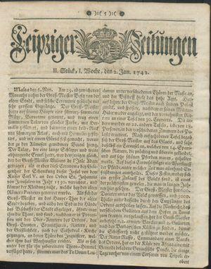 Leipziger Zeitungen vom 02.01.1742