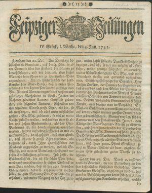 Leipziger Zeitungen vom 04.01.1742