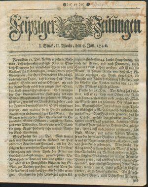 Leipziger Zeitungen vom 08.01.1742