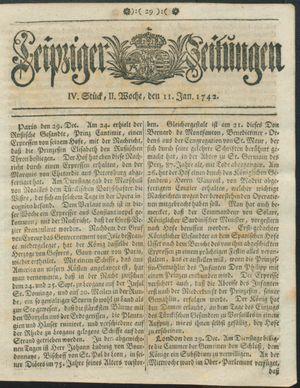 Leipziger Zeitungen vom 11.01.1742