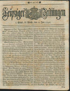 Leipziger Zeitungen vom 15.01.1742
