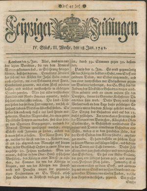 Leipziger Zeitungen vom 18.01.1742