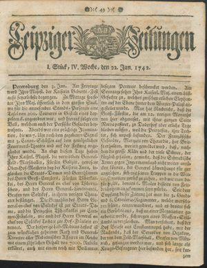 Leipziger Zeitungen vom 22.01.1742