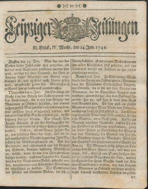 Leipziger Zeitungen vom 24.01.1742