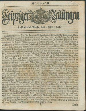 Leipziger Zeitungen vom 05.02.1742