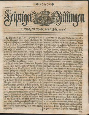 Leipziger Zeitungen vom 06.02.1742