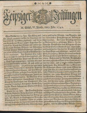 Leipziger Zeitungen vom 07.02.1742