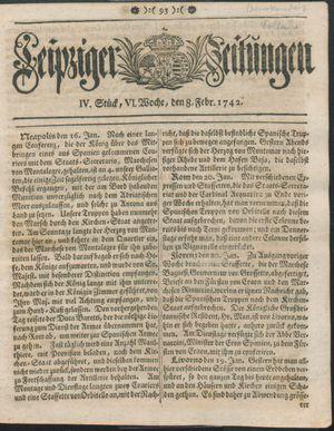 Leipziger Zeitungen vom 08.02.1742