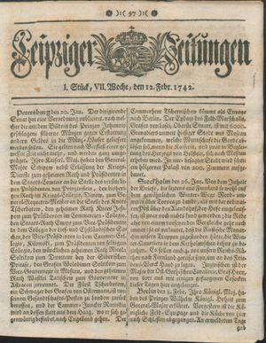 Leipziger Zeitungen vom 12.02.1742