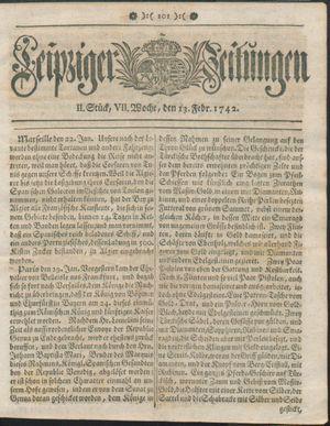 Leipziger Zeitungen vom 13.02.1742