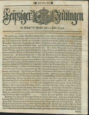 Leipziger Zeitungen vom 14.02.1742