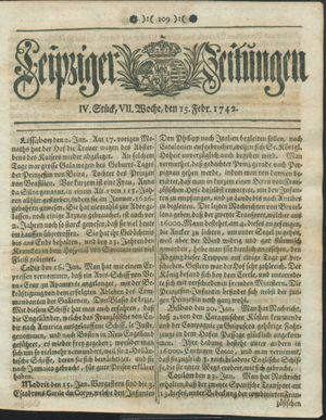 Leipziger Zeitungen vom 15.02.1742