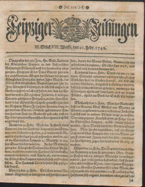 Leipziger Zeitungen vom 21.02.1742