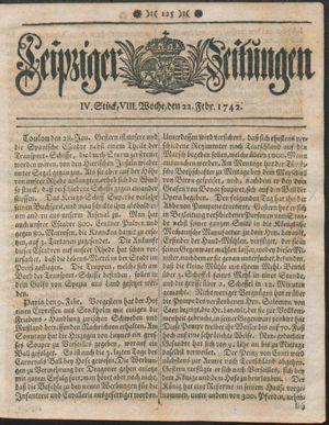 Leipziger Zeitungen vom 22.02.1742