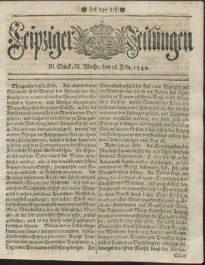 Leipziger Zeitungen vom 28.02.1742