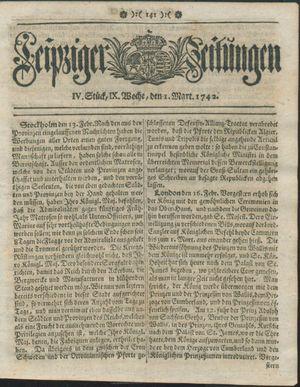 Leipziger Zeitungen vom 01.03.1742
