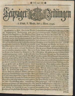 Leipziger Zeitungen vom 05.03.1742