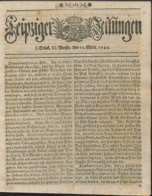 Leipziger Zeitungen vom 12.03.1742