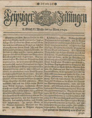 Leipziger Zeitungen vom 13.03.1742