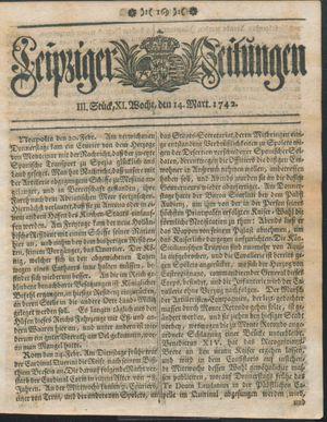 Leipziger Zeitungen vom 14.03.1742