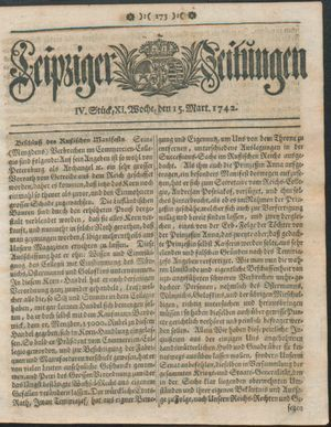 Leipziger Zeitungen vom 15.03.1742