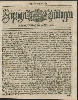 Leipziger Zeitungen vom 21.03.1742