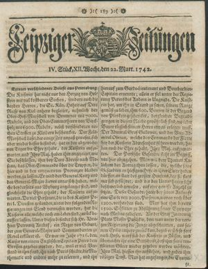 Leipziger Zeitungen vom 22.03.1742