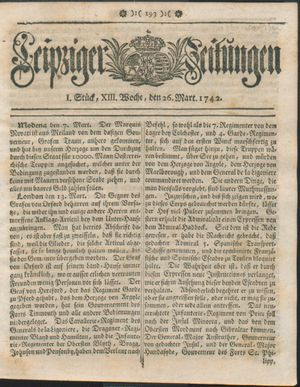 Leipziger Zeitungen vom 26.03.1742