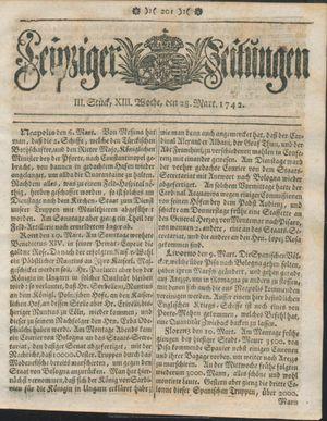 Leipziger Zeitungen vom 28.03.1742
