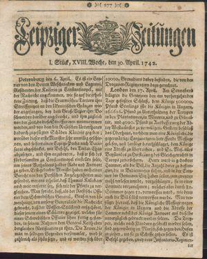 Leipziger Zeitungen vom 30.04.1742