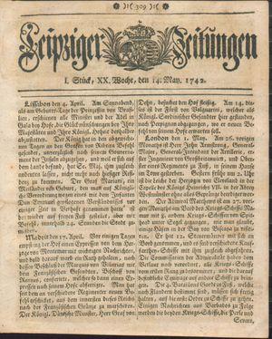 Leipziger Zeitungen vom 14.05.1742
