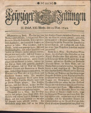 Leipziger Zeitungen vom 23.05.1742