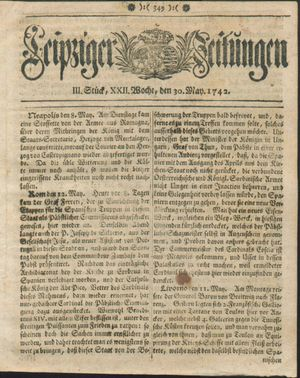 Leipziger Zeitungen vom 30.05.1742